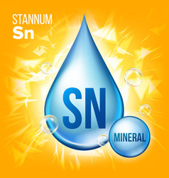 Sn stannum mineral blue drop icon vitamin vector