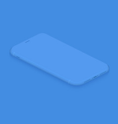 soft isometric tender blue smartphone 3d vector image