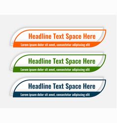 Stylish lower third modern banners set design vector