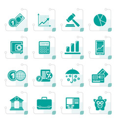 Stylized business and finance icons vector