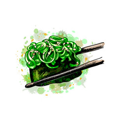 Sushi gunkan from a splash watercolor hand vector