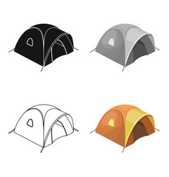 Tent tourist with awningtent single icon in vector