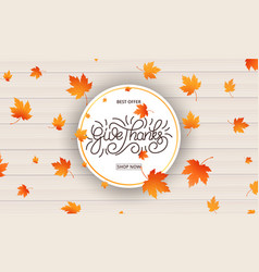 Thanksgiving day card give thanks calligraphy and vector