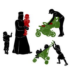 the isolated silhouettes of parents and children vector image vector image
