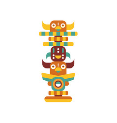 Totem pole native cultural tribal symbol vector