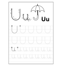 Tracing alphabet letter u black and white vector