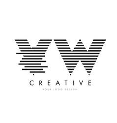 vw v w zebra letter logo design with black and vector image