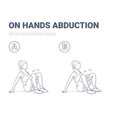 Woman doing on hands hips abductions home workout vector
