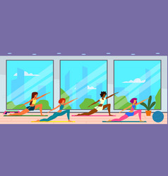 women in gym female group doing fitness exercises vector image