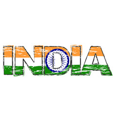 word india with indian flag under it distressed vector image
