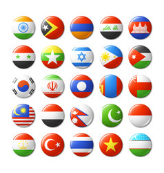 World flags round badges magnets asia vector