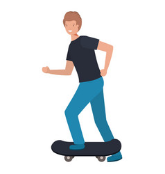 young man with skateboard avatar character vector image
