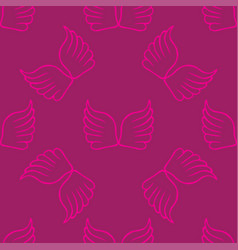 angel wings seamless lilac pink pattern vector image