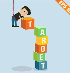 Cartoon Businessman stacking target box - - vector image vector image