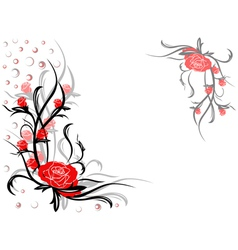 Floral swirl postcard with red roses vector image