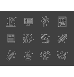 White flat line space research icons set vector image vector image