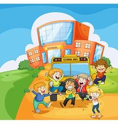 A school bus in front of the school vector image vector image