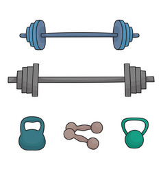 a set of simple dumbbells and barbells isolated on vector image vector image