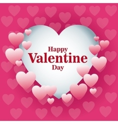beautiful card happy valentines day frame heart vector image