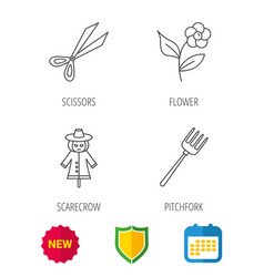 scissors flower and pitchfork icons vector image