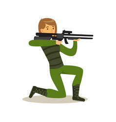 female soldier character in camouflage combat vector image vector image