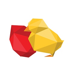 origami chicken with red egg vector image
