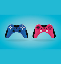 realistic gamepad blue and pink video game vector image