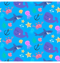 Seamless pattern of cute sea world characters vector image vector image