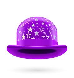 Violet starred bowler hat vector image vector image