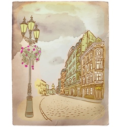 Antique European street Vintage post card vector image vector image