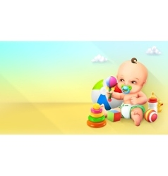 Child and toy vector image vector image