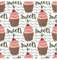 cupcakes seamless pattern doodle background with vector image vector image