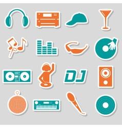 Music club dj color simple stickers set eps10 vector