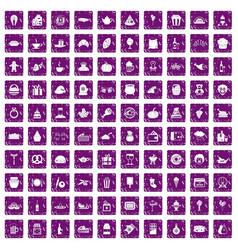 100 bounty icons set grunge purple vector