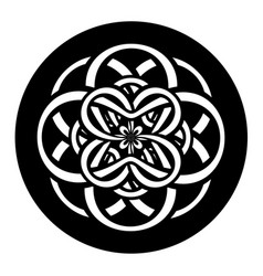 Abstract circle with entwined knotted flower in vector