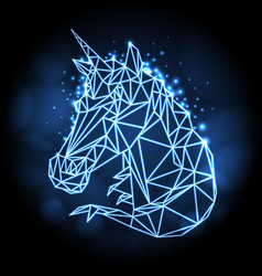 abstract polygonal fantasy animal unicorn vector image