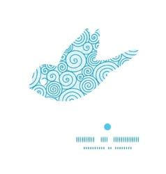 Abstract swirls bird silhouette pattern frame vector