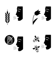 Allergies glyph icons set vector