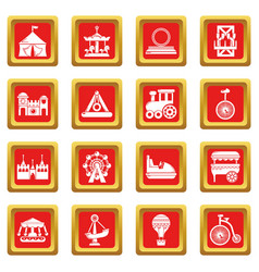 amusement park icons set red square vector image