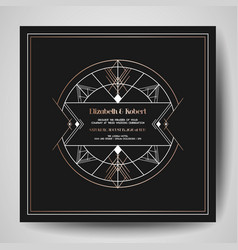 art deco wedding invitation save date card vector image