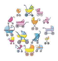 baby carriage icons set cartoon style vector image