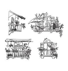 Balcony garden set line drawings cute vector