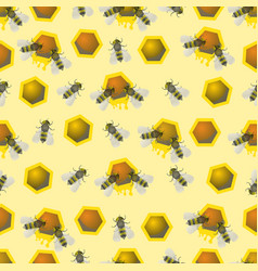 bee pattern seamless pattern bee honeycomb vector image