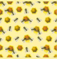 Bee pattern seamless pattern bee honeycomb vector