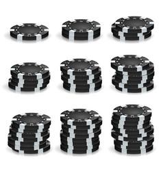 Black poker chips stacks realistic set vector