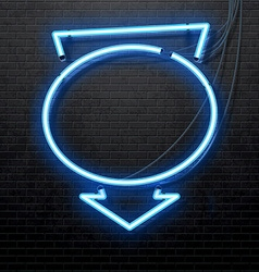 blue neon arrow isolated on black brick wall vector image