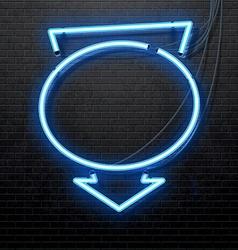 blue neon arrow isolated on black brick wall vector image