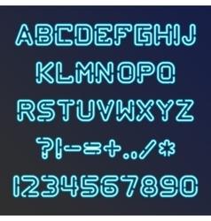 Blue neon font vector