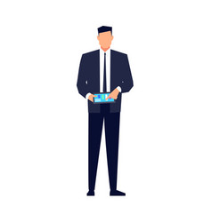 Businessman in a flat style isolated vector