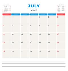 Calendar planner for july 2021 week starts on vector